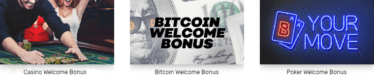 Bovada offers you three welcome bonuses to choose from - Casino, Poker and Bitcoin bonus